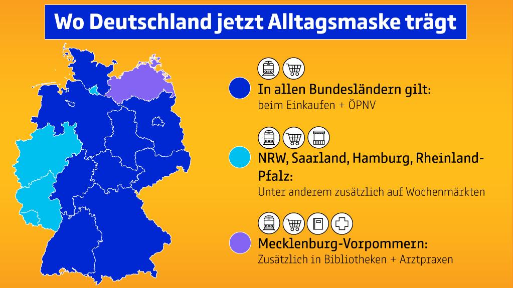 """Die Grafik zeigt, wo in Deutschland jetzt Masken geragen werden müssen (Weitere Beschreibung unterhalb des Bildes ausklappbar als """"ausführliche Beschreibung"""")"""