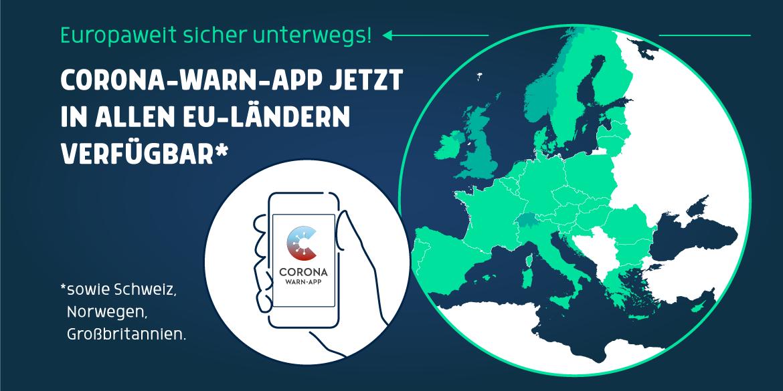 Die Grafik zeigt eine Karte mit allen EU-Ländern, der Schweiz, Norwegen und Großbritannien. Hier ist die Corona-Warn-App nun verfügbar.