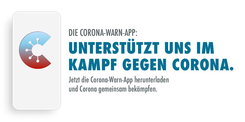Corona-Warn-App: Unterstützt uns im Kampf gegen Corona. Jetzt die Corona-Warn-App herunterladen und Corona gemeinsam bekämpfen.