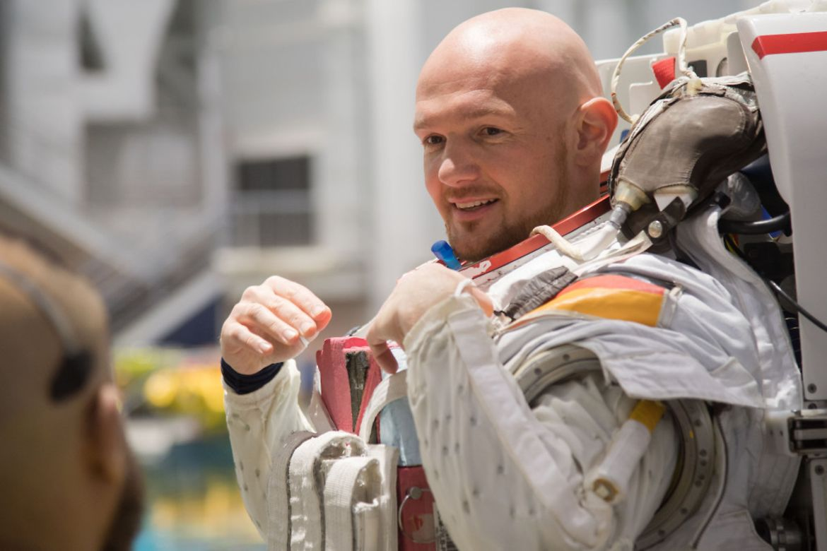 Astronaut Alexander Gerst während eines Trainingsprogramms im NASA Johnson Space Center.