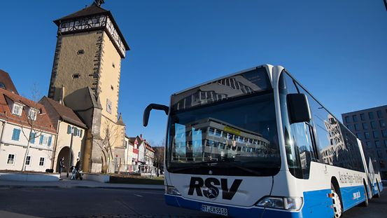 Baden-Württemberg, Reutlingen: A bus arrives at the bus station.