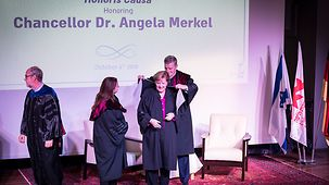 Chancellor Angela Merkel is awarded an honorary Ph.D. at the University of Haifa.