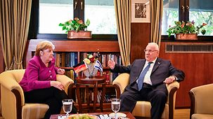 Chancellor Angela Merkel in discussion with Israel's President Reuven Rivlin