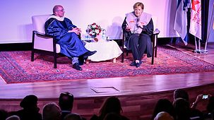 Chancellor Angela Merkel during a discussion with students following the award of the honorary Ph.D. at the Unviersity of Haifa