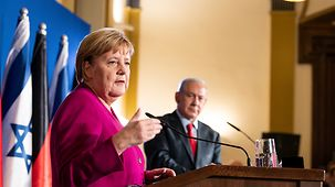 Chancellor Angela Merkel at the press conference following the German-Israeli government consultations