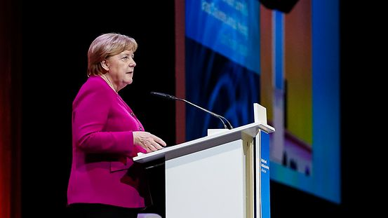 Federal Chancellor Angela Merkel speaks at the World Health Summit.