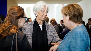 Chancellor Angela Merkel in discussion with Christine Lagarde, Managing Director of the International Monetary Fund (IMF)