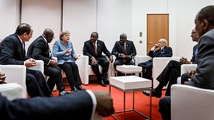 "Chancellor Angela Merkel during the ""Compact with Africa"" Conference"