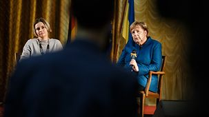 Chancellor Angela Merkel during a discussion with students