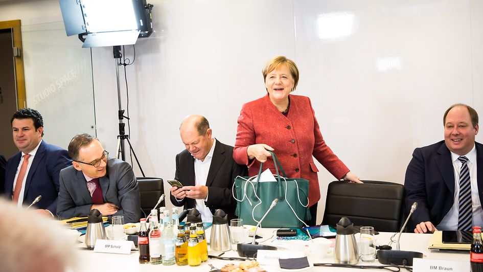 Chancellor Angela Merkel arrives at the Cabinet meeting