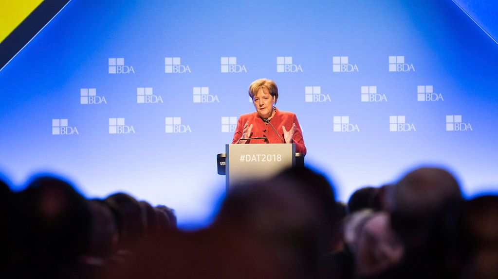 Chancellor Angela Merkel speaks at the annual meeting of the Confederation of German Employers' Associations.