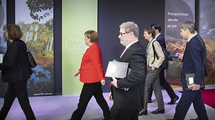 Chancellor Angela Merkel on her way to a bilateral meeting