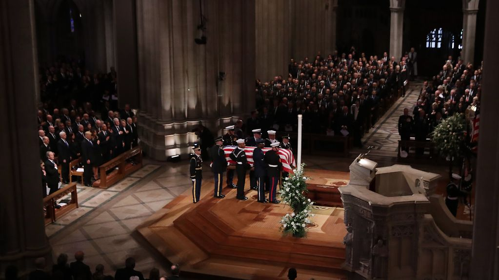 The casket bearing George H.W. Bush inside Washington's National Cathedral