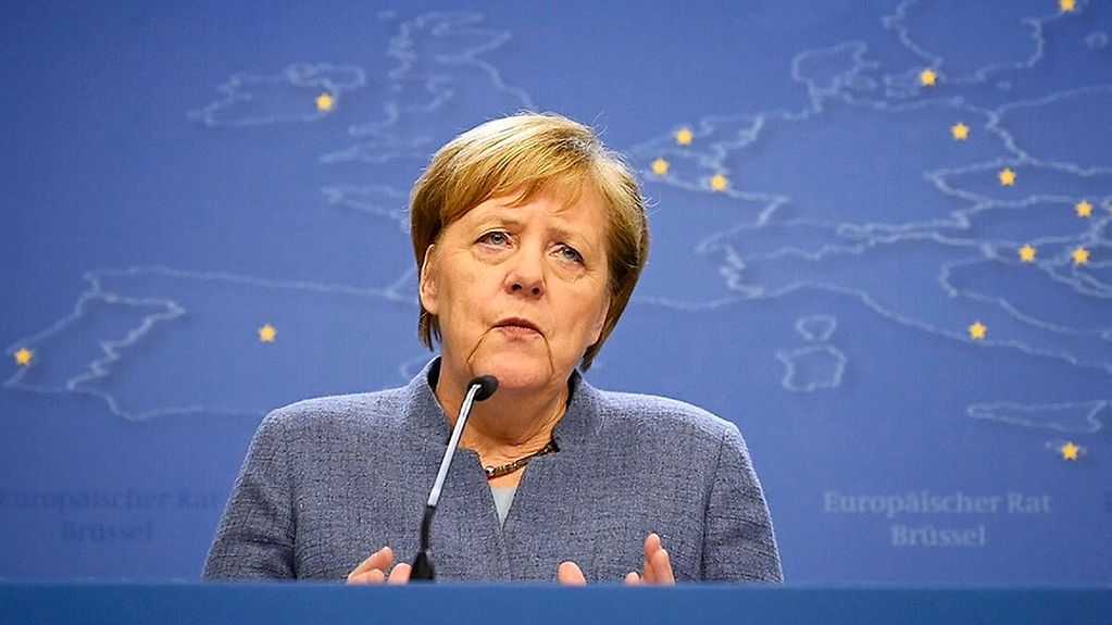 Chancellor Angela Merkel at the press conference