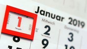 Kalender mit Kennzeichnung auf dem 1. Januar 2019