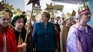 "Chancellor Angela Merkel at the reception for the ""Star Singers"" at the Federal Chancellery"