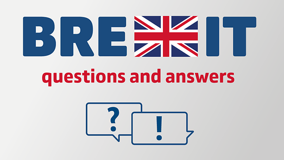 "The heading ""Brexit"" in a large, bold font against a grey background, the letter ""X"" is the British flag. Underneath that ""Questions and Answers"" plus two speech bubbles with a question mark and an exclamation mark"