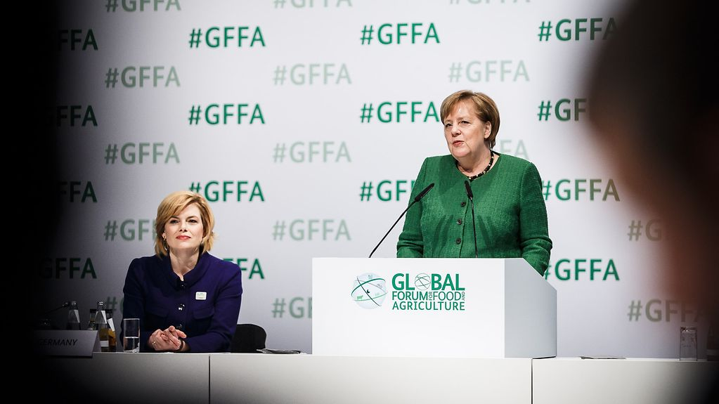 Chancellor Angela Merkel speaks at the Global Forum for Food and Agriculture.