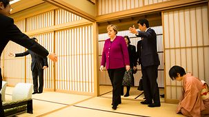 Chancellor Angela Merkel and Prime Minister Shinzo Abe at the official residence of the Prime Minister