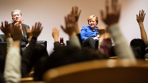 Chancellor Angela Merkel during the discussion with students at Keio University