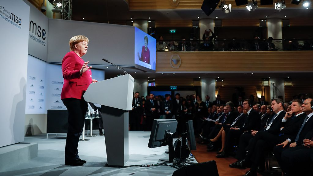 Angela Merkel speaks at the Munich Security Conference.