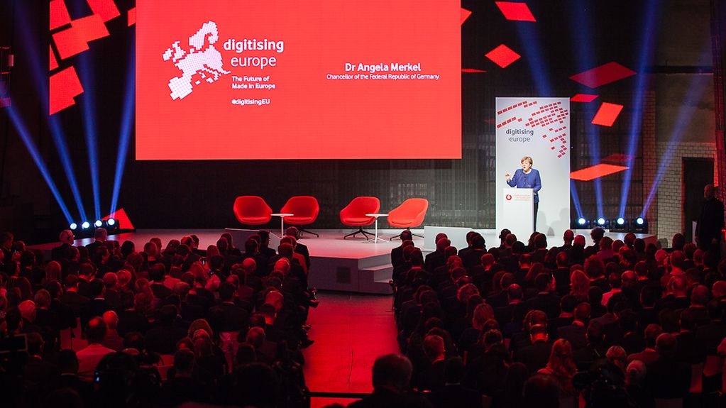 Chancellor Angela Merkel speaks at the Digitising Europe Summit.