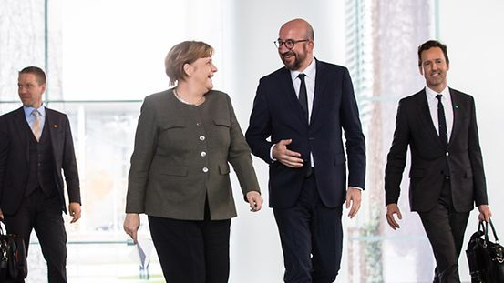 Angela Merkel meets with Belgian Prime Minister Charles Michel at the Federal Chancellery