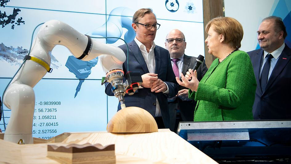 Chancellor Angela Merkel visits the Munich international trade fair for craft trades.