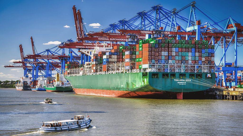 Ein großen, mit vielen Containern beladenes Containerschiff liegt im Hamburger Hafen.