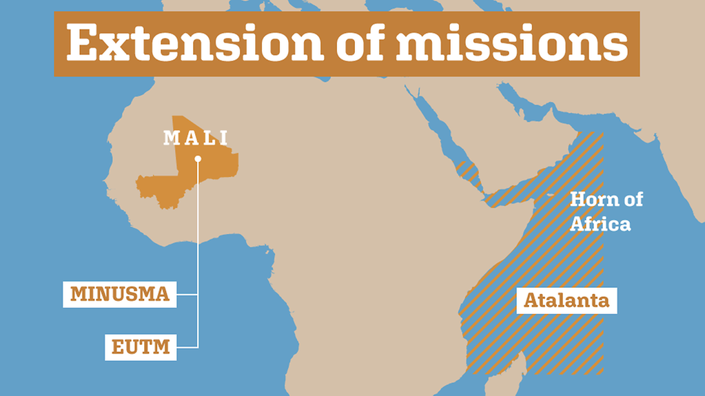 The Bundeswehr is involved in missions in Mali and the Horn of Africa.