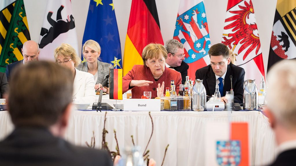 Chancellor Angela Merkel at the 46th regional conference of the state premiers of the Eastern federal states