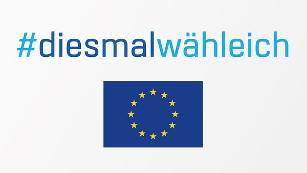 Logo zur Europawahl mit dem Schriftzug #diesmalwähleich
