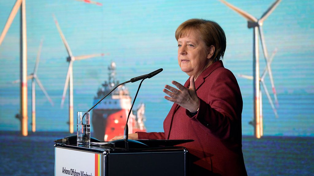 Chancellor Angela Merkel at the opening of the wind farm
