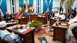 Chancellor Angela Merkel at a meeting with the Presidents of the G5 Sahel states
