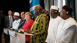 Chancellor Angela Merkel at a press conference following her meeting with the Presidents of the G5 Sahel states