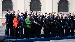 Family photo of the EU heads of state and government at their meeting in Sibiu