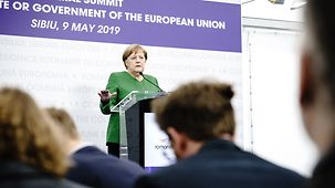 Chancellor Angela Merkel speaks at the press conference following the meeting of the European Council in Sibiu.