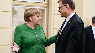 Chancellor Angela Merkel in discussion with Finland's Prime Minister Juha Sipilä at the informal meeting of the European Council in Sibiu
