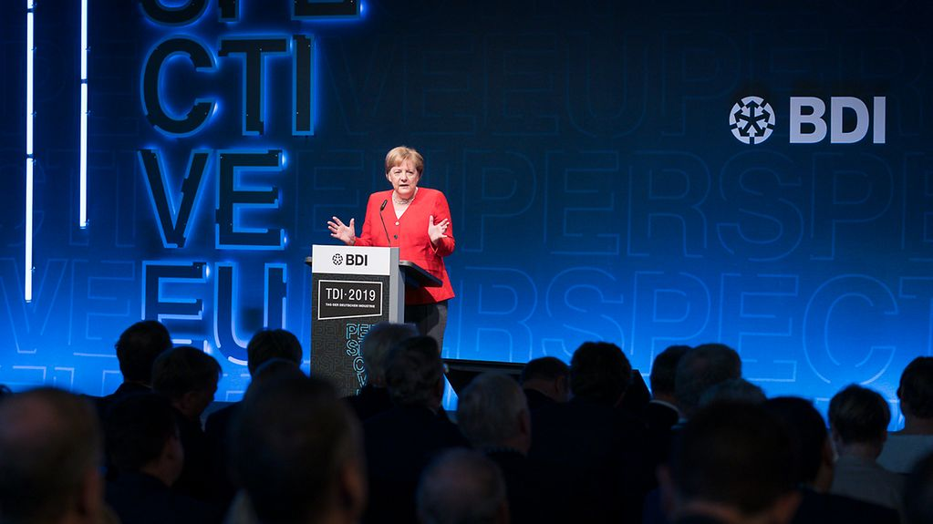 The Chancellor speaks at the annual meeting of the BDI, the Federation of German Industries