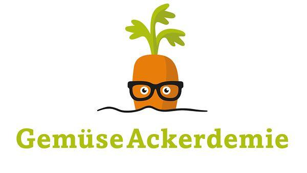 Logo GemüseAckerdemie: Eine Möhre mit Brille.