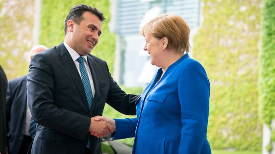 Chancellor Angela Merkel greets Zoran Zaev, Prime Minister of the Republic of North Macedonia.