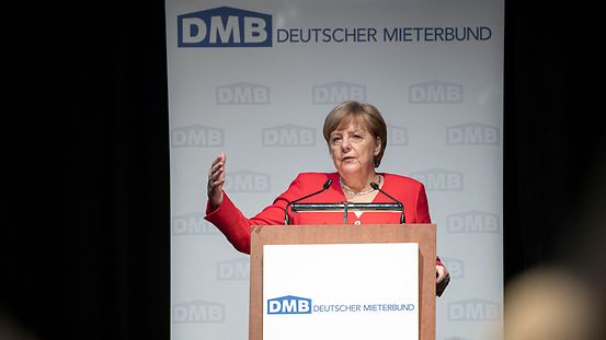 Chancellor Angela Merkel speaks at the annual meeting of the DMB (German Tenants' Association).