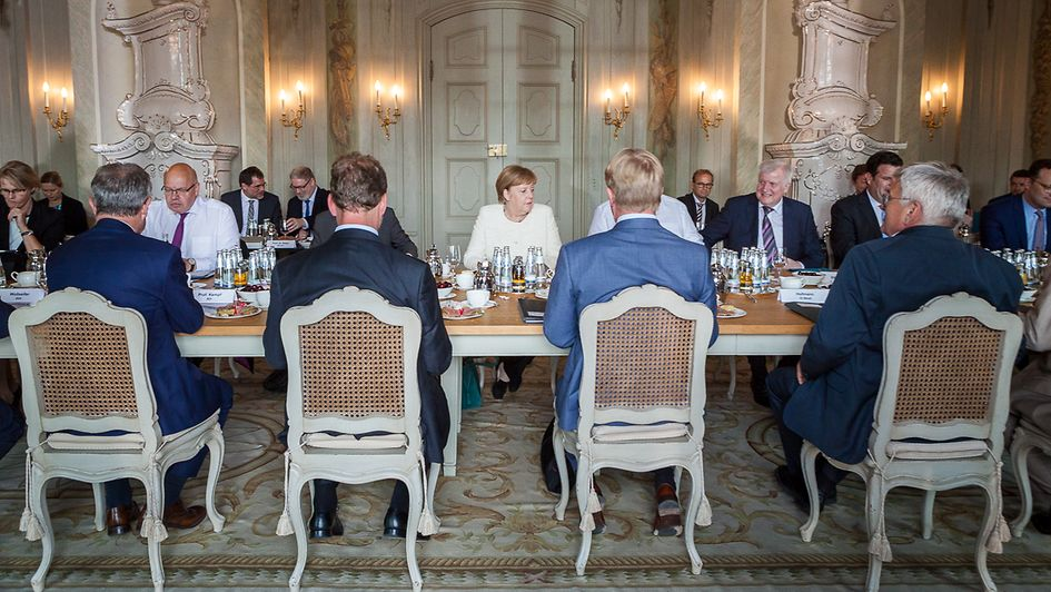 Chancellor Angela Merkel at the start of the Discussions for the Future in Schloss Meseberg