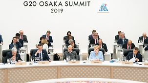 Chancellor Angela Merkel during the working session at the G20 in Osaka