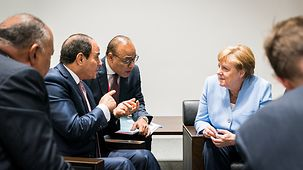 Chancellor Angela Merkel in discussion with Egyptian President Abdul Fattah al-Sisi at the G20 summit in Osaka