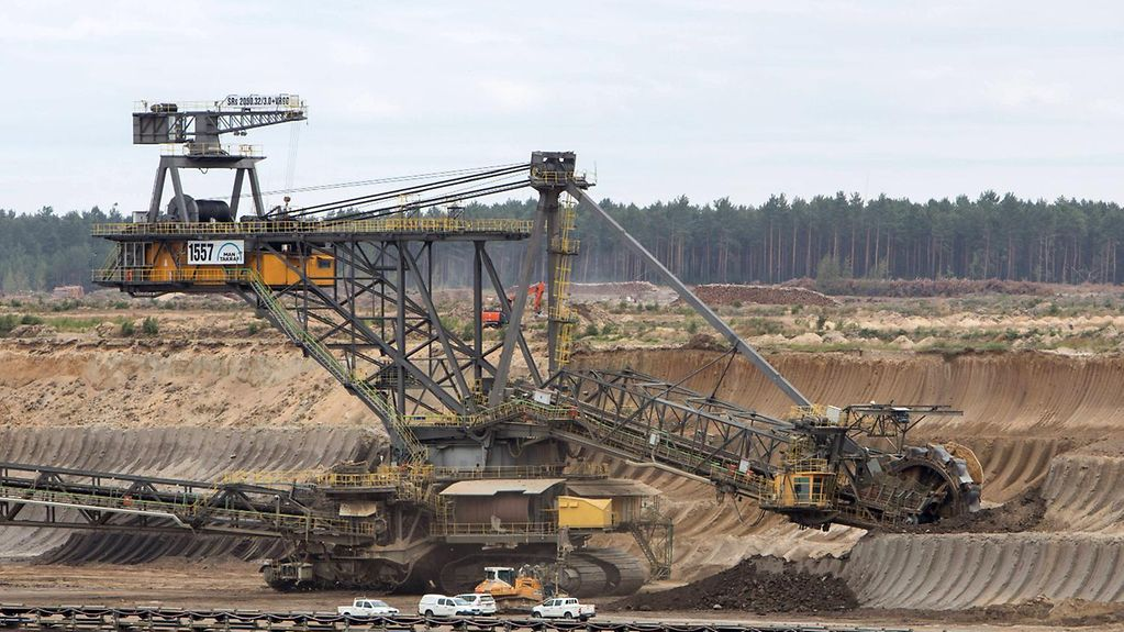 A bucket wheel excavator at Jänschwalde opencast lignite mine in Lusatia in the east of Germany