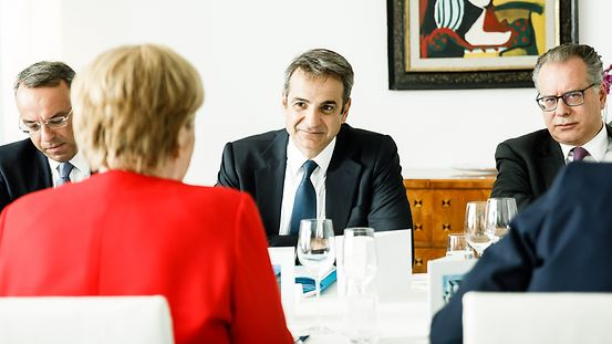 Chancellor Angela Merkel during talks with Kyriakos Mitsotakis, Greece's Prime Minister