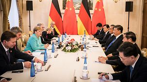 Chancellor Angela Merkel in talks with China's President Xi Jinping