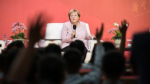 Chancellor Angela Merkel during the discussion with students