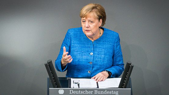 Chancellor Angela Merkel speaks in the German Bundestag.